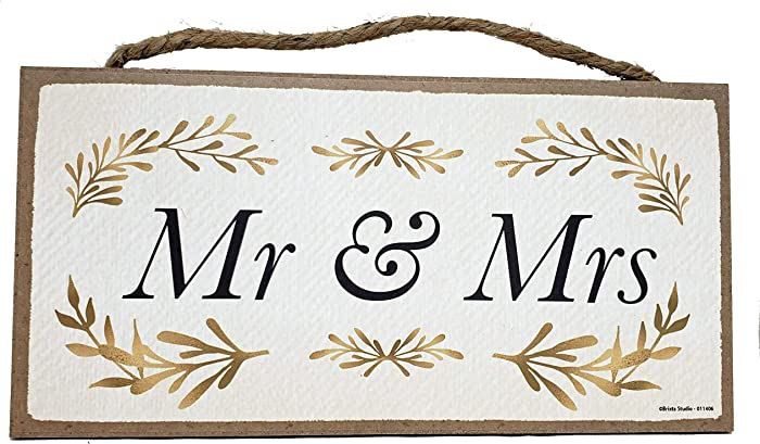 Mr and Mrs Wood Sign for Couple - Hanging Wall Decor Plaque - 10 x 5 Inches