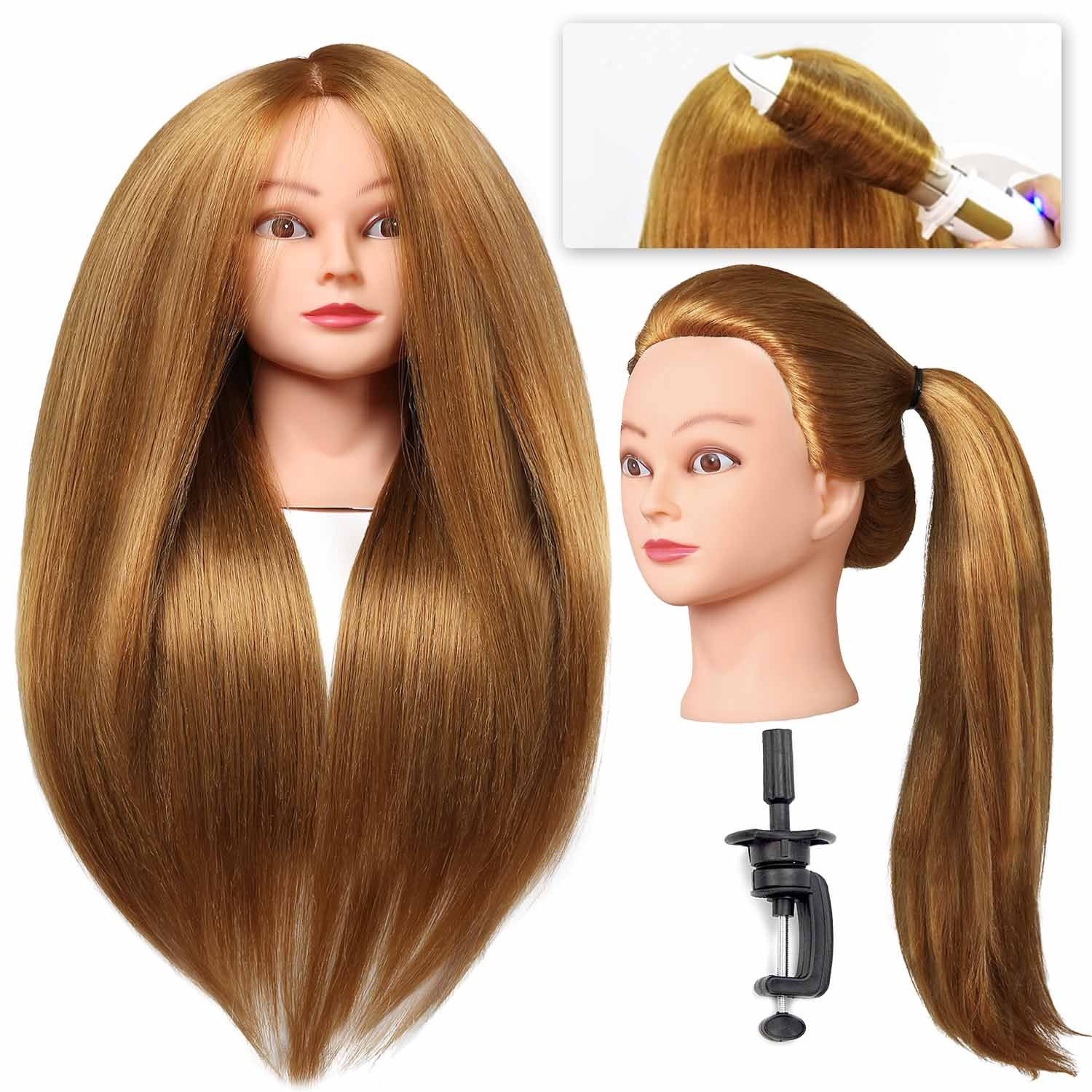 "SILKY #27 Mannequin Head with Human Hair 40% Blonde 28"" Professional Bride Hairdressing Cosmetology Doll Head Training Head Free Stand holder"