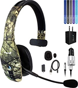 VXI BlueParrott B450-XT Noise Canceling Bluetooth Headset 300-FT Wireless Range (Mossy Oak) Bundle with Blucoil Micro USB Car Charger, USB Wall Adapter, and 5-Pack of Reusable Cable Ties
