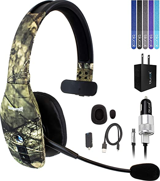 Amazon Com Blueparrott B450 Xt Noise Canceling Bluetooth Headset With 300 Ft Wireless Range Mossy Oak Bundle With Blucoil Micro Usb Car Charger Usb Wall Adapter And 5 Pack Of Reusable Cable Ties