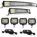TURBO SII Curved LED Light Bar 52'' inch 711W + 22'' inch 306W + 4pcs 4'' 60W LED Pods Fog Lights Tri-Row Offroad Lighting La