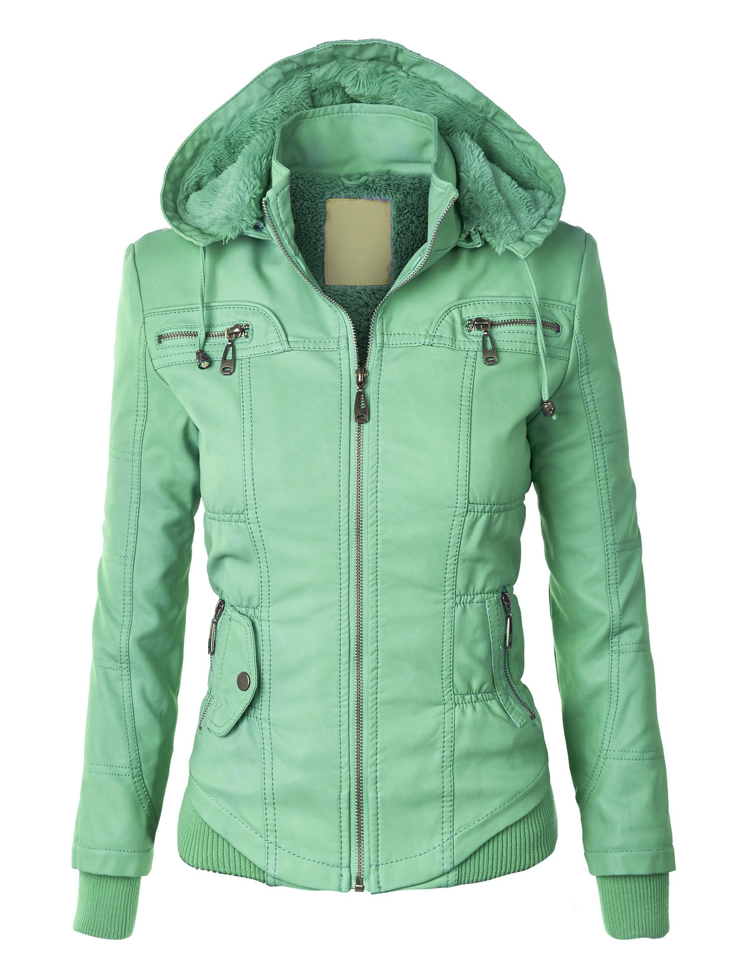 WJC858 Womens Faux Leather Zip Up Bomber Jacket with Hood XS Mint