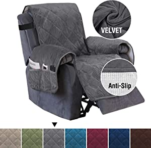 "H.VERSAILTEX Velvet Quilted Anti-Slip Couch Slipcover Recliner Chair Covers, Seat Width Up to 28"" Furniture Protector, 2"" Straps, Washable Covers Protect from Kids, Dogs, Cats, Pets (Recliner: Gray)"