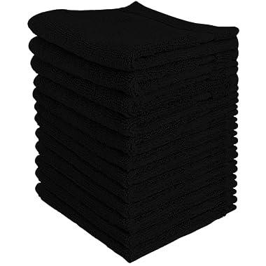 Utopia Towels 600 GSM Washcloths, 12 Pack, Black