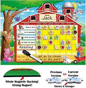 ZazzyKid Reward Behavior Chart for Kids: 16.5 x 12.6 Inches Board with Star Magnets & Dry Erase Pen