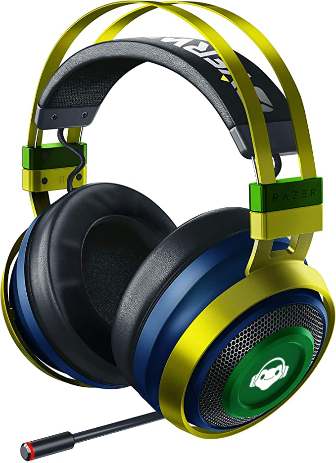 Razer Nari Ultimate Wireless 7.1 Surround Sound Gaming Headset: THX Audio & Haptic Feedback - Auto-Adjust Headband - Chroma RGB - Retractable Mic - for PC, PS4 - Overwatch Lucio Edition