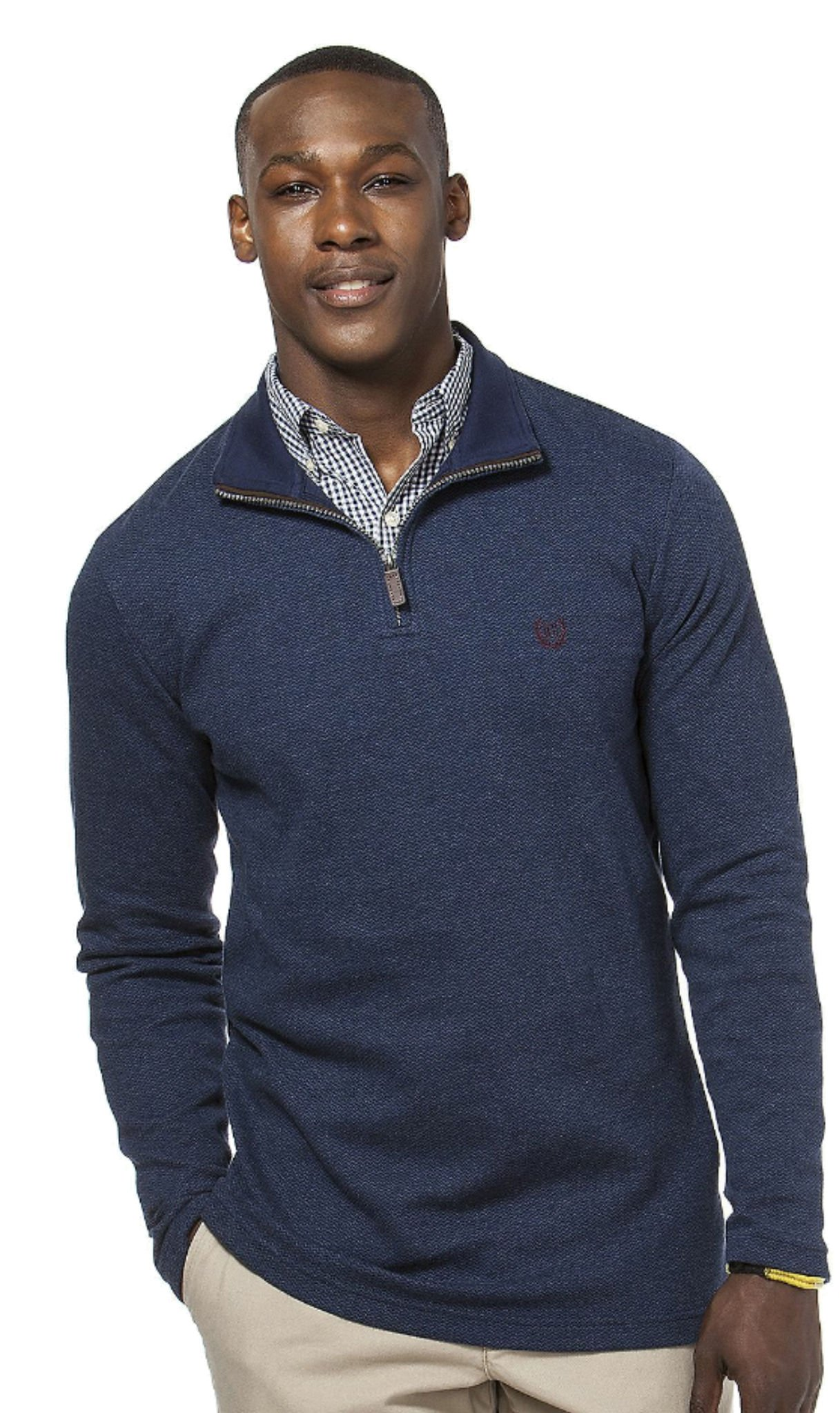 Chap's Men's 1/4 Zip Kent Chevron Lightweight Pullover (S, Newport Navy)