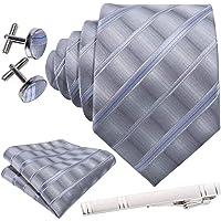 Barry.Wang Formal Men Ties,Designer Pocket Squares Cufflink and Tiepin Set Plaid Stripe Silk,Gift Box