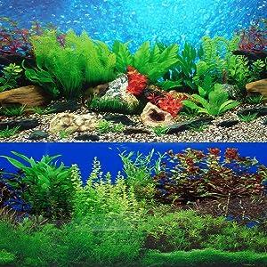 "ELEBOX New 20"" x 48"" Fish Tank Background 2 Sided River Bed & Lake Background Aquarium"