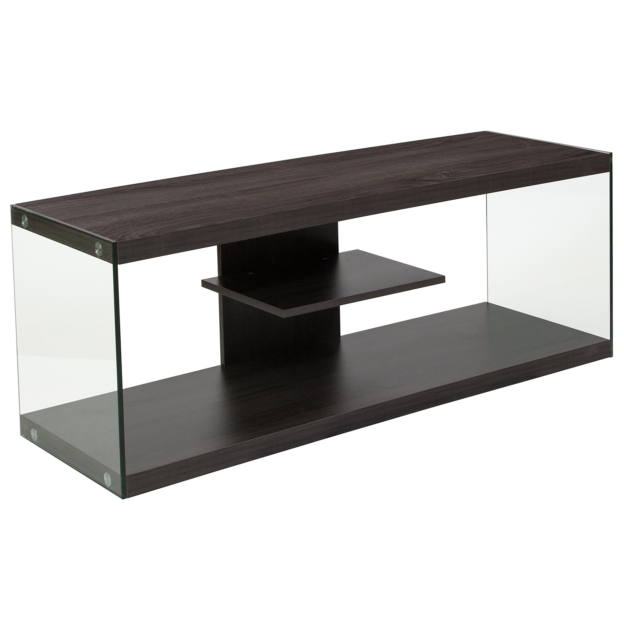 Flash Furniture Cedar Lane Collection Driftwood Wood Grain Finish TV Stand with Shelves and Glass Frame