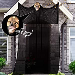 Nobie vivid Halloween Decorations,10.8ft Halloween Ghost Hanging, Ghost Lights with Sound-Controlled Lighting, with Special Sound Effects, Scary Creepy Indoor/Outdoor Decor