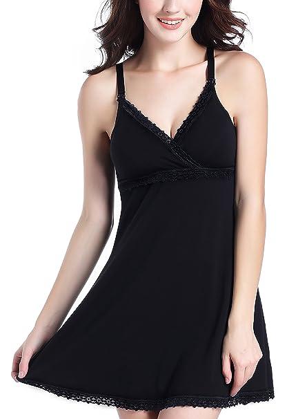 Uni-love Camisón Lactancia para Mujer Pijama Premamá Embarazo Lactancia Maternidad Camisones Embarazadas (M