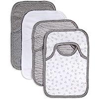 Burt's Bees Baby - Set of 4 Bee Essentials Lap Shoulder Bibs, 100% Organic Cotton, Heather Grey Variety