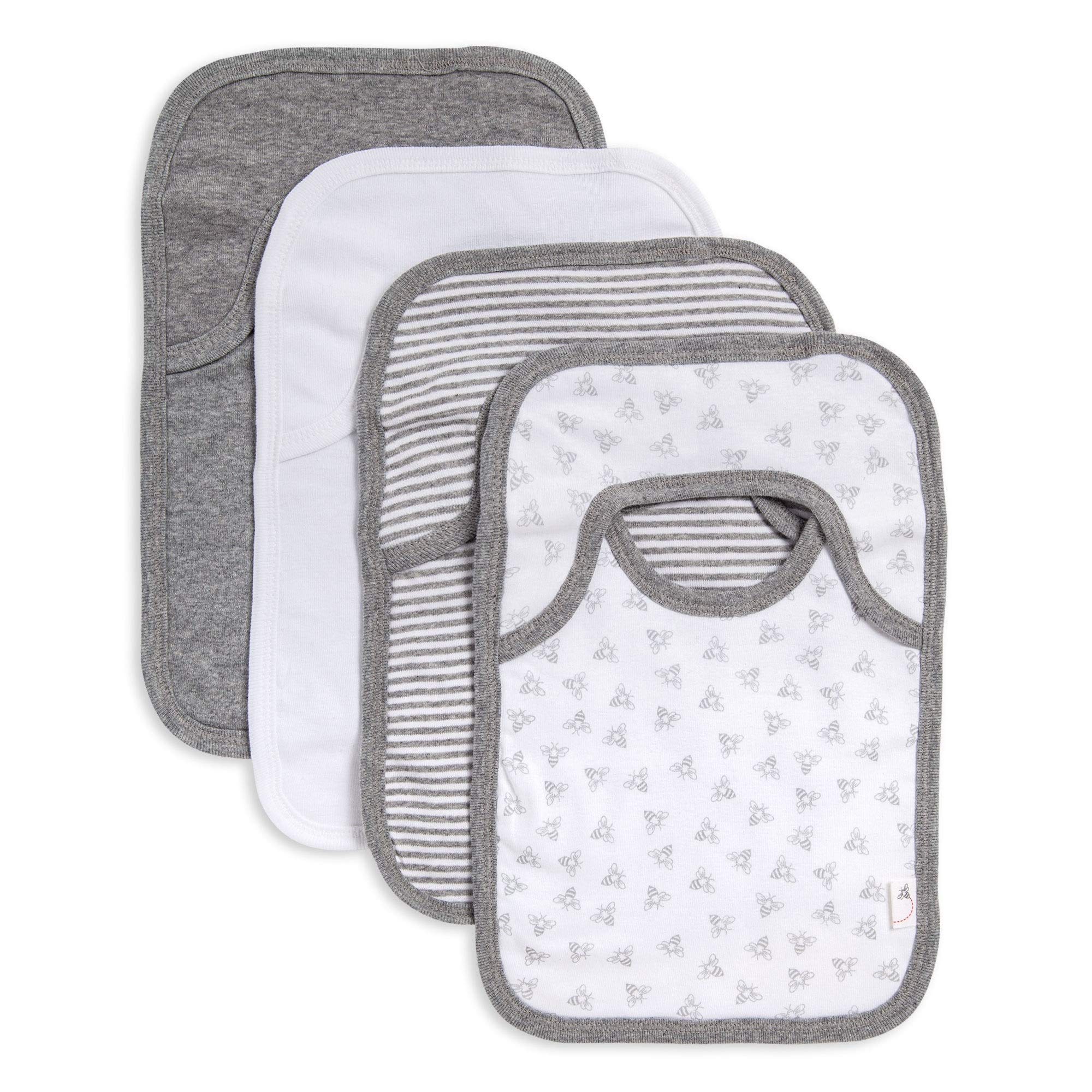 Burt's Bees Baby - Bibs, 4-Pack Lap-Shoulder Drool Cloths, 100% Organic Cotton with Absorbent Terry Towel Backing (Heather Grey) by Burt's Bees Baby