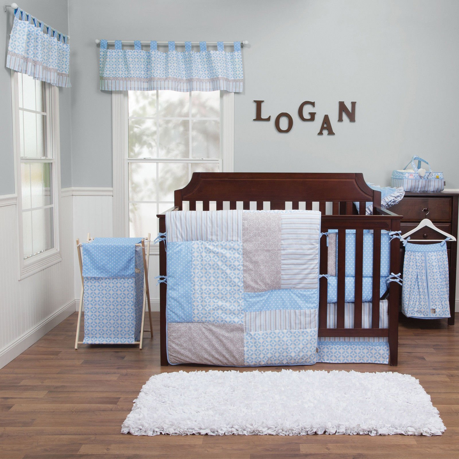This Unique Baby bedding 5 piece Crib bedding set is great for your new Nursery bedding. The stripes and dots of this set is sure to match any Baby cribs or Baby furniture or Diaper bags by Everyday Manufacturing Company