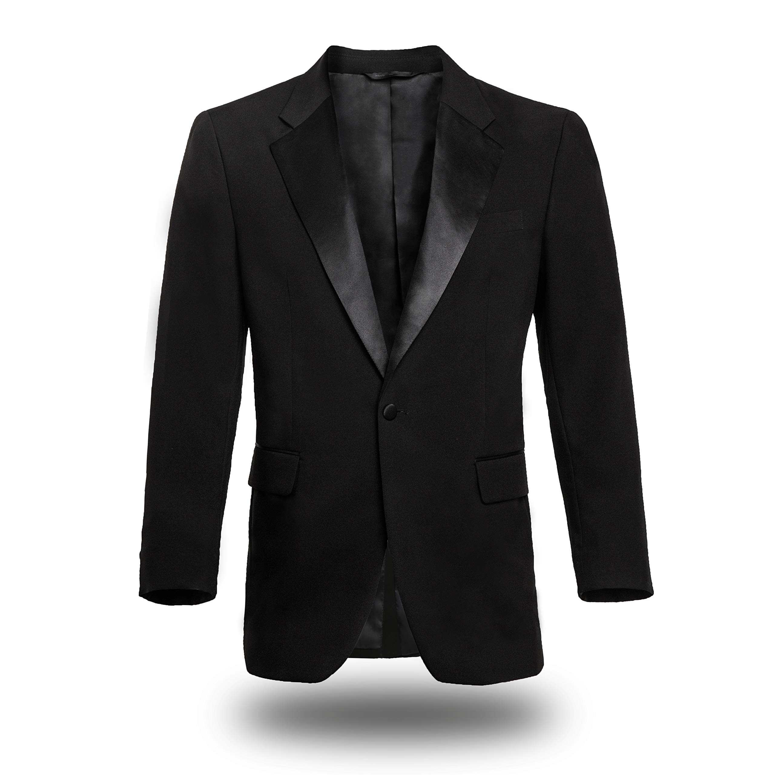 FRANKERS 100% Polyester Regular Fit Classic Satin Notch Lapel One Button Men's Black Tuxedo Jacket by FRANKERS