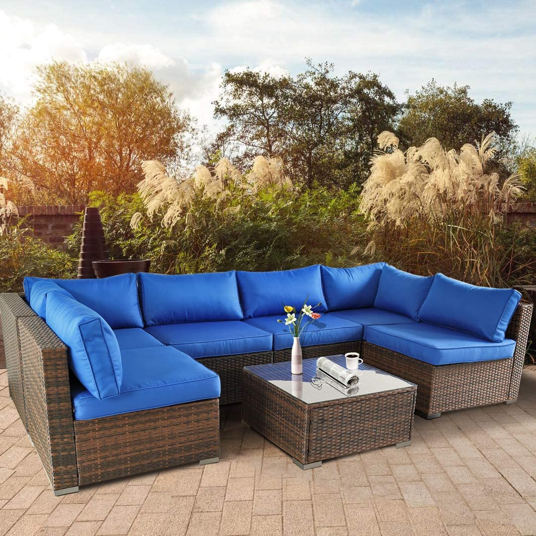 Outdoor Sofa Set Brown Rattan Couch Wicker 7PCS Sectional Conversation for Women Lawn Garden Patio Furniture Set with Royal Blue Cushion