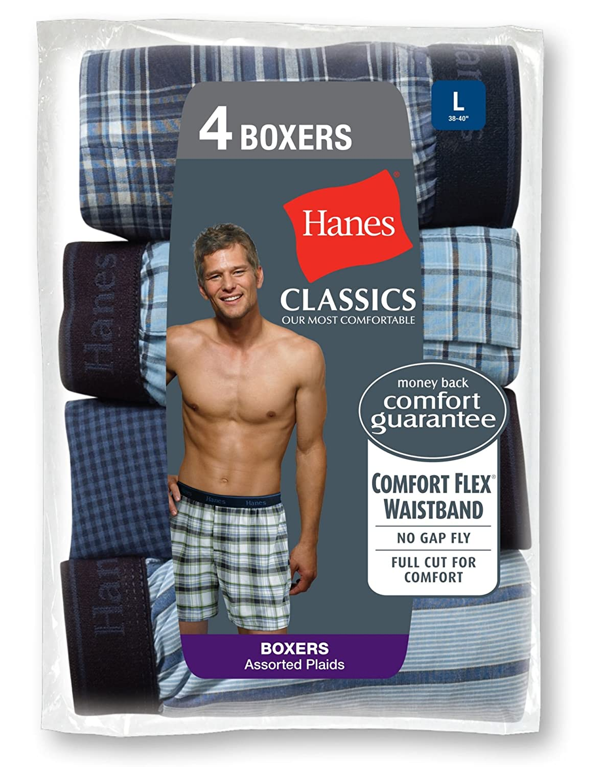 all-day comfort. Classics also feature a premium waistband for plush M-Black//Grey Assortment Made with super soft premium cotton Classics Boxers Hanes Classics is our most comfortable