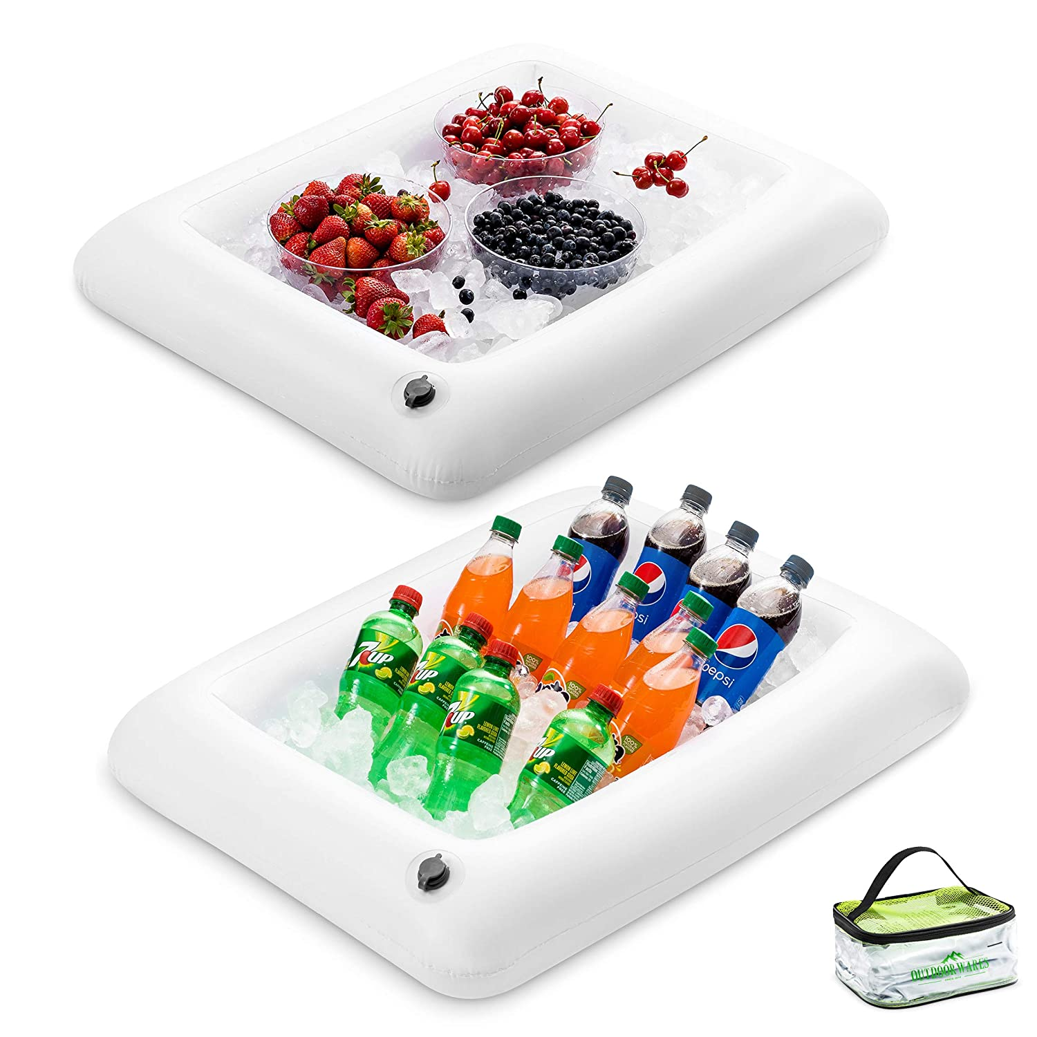 "Premium Inflatable Salad Bar Tray With Drain New Innovative Valve for EASY Inflation - Deflation By Outdoorwares Food & Drink Holder For Picnics, Barbeques & Parties – 28"" x 22"" x 4"" - Pack Of 2"