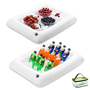 """Premium Inflatable Salad Bar Tray With Drain New Innovative Valve for EASY Inflation - Deflation By Outdoorwares Food & Drink Holder For Picnics, Barbeques & Parties – 28"""" x 22"""" x 4"""" - Pack Of 2"""