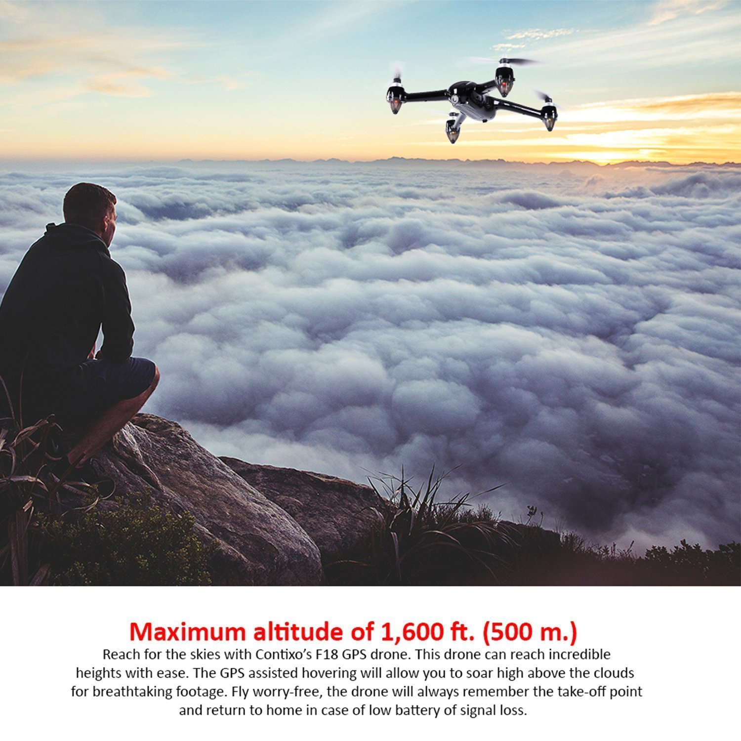 Holiday Special! Contixo F18 Advanced GPS Assisted RC Quadcopter 1080P HD Live FPV 5GHz Wifi Video Camera Drone Smart RTH Hovering Brushless Motors-Carrying Back Pack $50 Value Best Gift For Christmas by Contixo (Image #6)