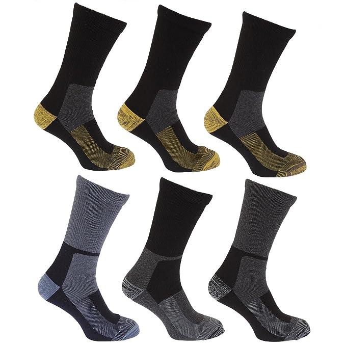 Calcetines térmicos para trabajar con lana hombre/caballero - Pack de 6 Pares de calcetines (39-45 EUR/Diseño 2): Amazon.es: Ropa y accesorios