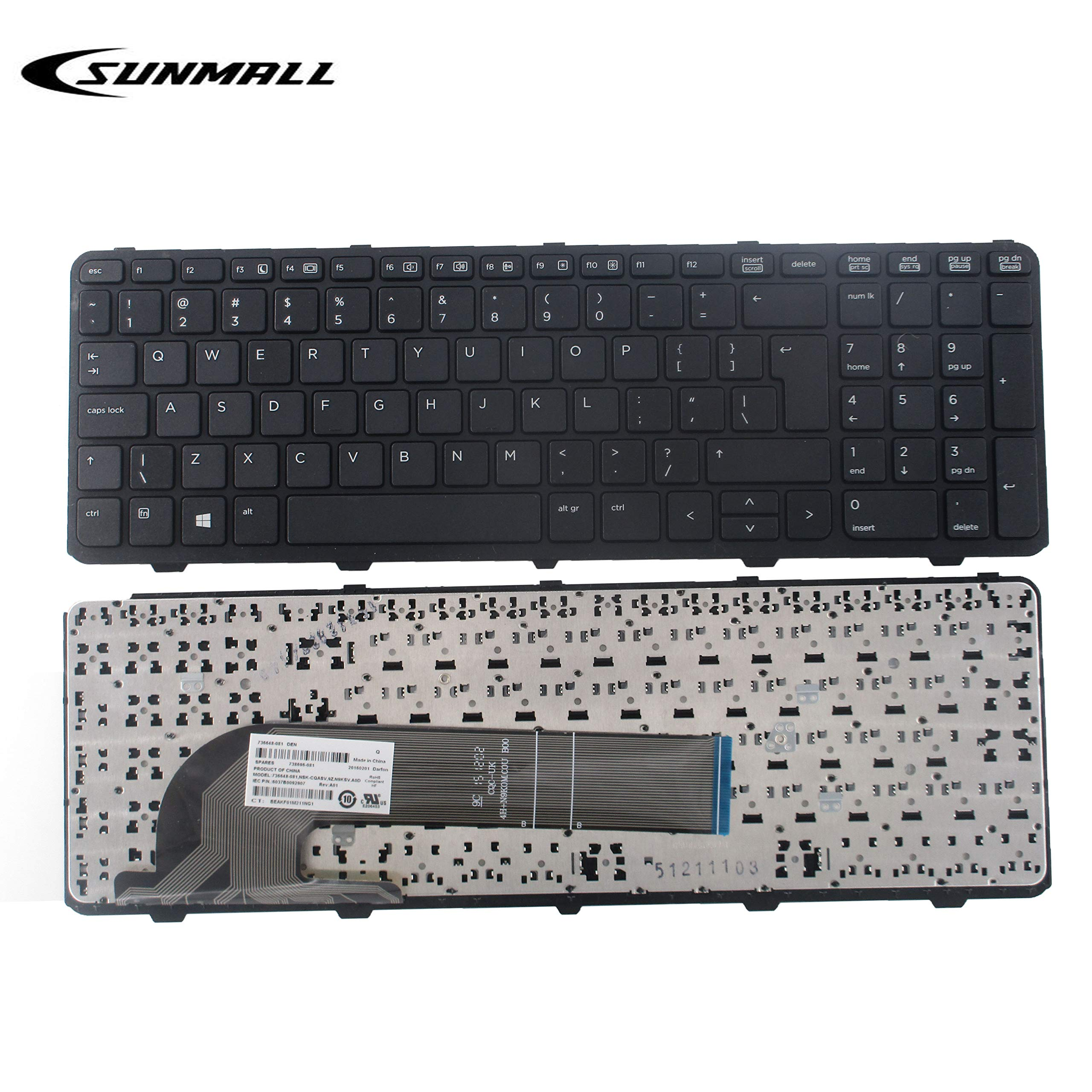 SUNMALL New Laptop Keyboard Replacement with Frame, Without Backlit, Compatible with HP Probook 450 G0 450 G1 Series Black US Layout