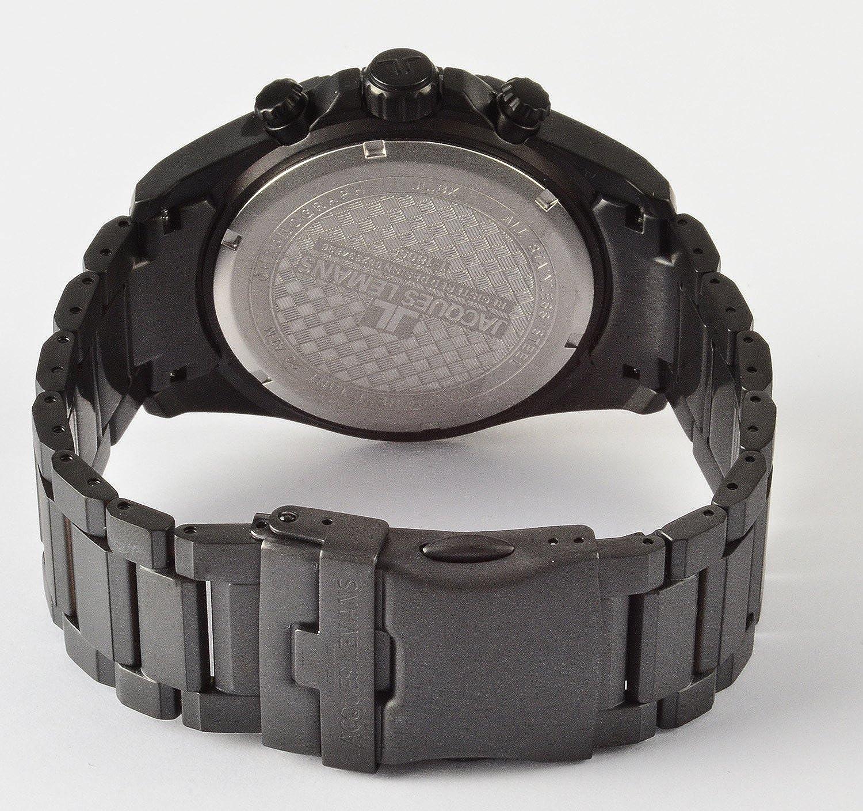 Jacques Lemans Liverpool Professional - Reloj de cuarzo para hombre, con correa de acero inoxidable chapado, color negro: Amazon.es: Relojes