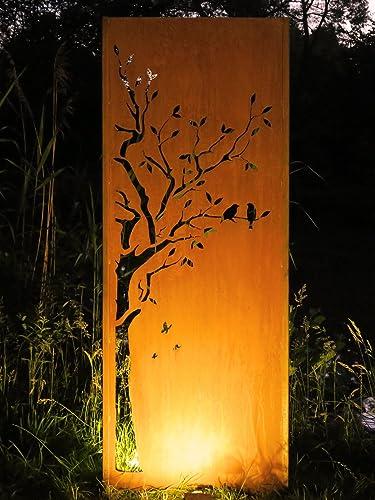 Gartenwand Sichtschutz Baum1 Rost Stahl 75x195 Cm Amazon De Handmade