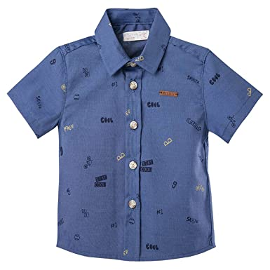 OFFCORSS Button Down Shirt for Toddler Boys | Camisas Manga Corta Blue Niños 2T