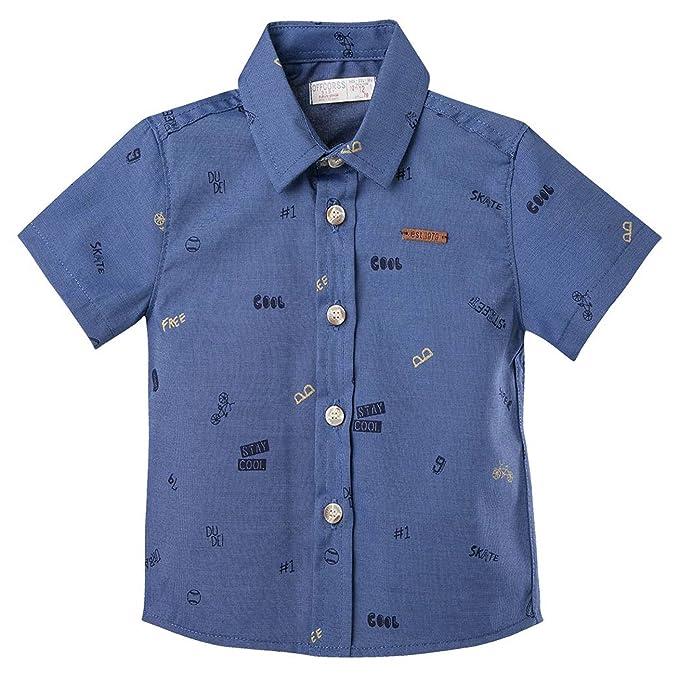 Offcorss Toddler Boys Long Short Sleeve Button Down Collared Dress Shirts Camisas De Vestir Con Mangas Para Niños