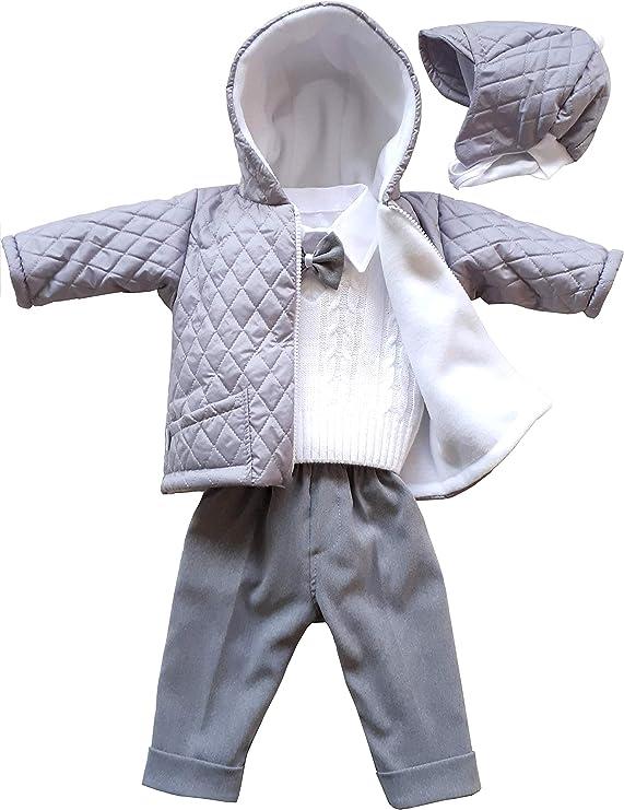 deine-Brautmode Taufanzug Festanzug Jacke Steppjacke M/ütze Hose Hemd Weste Fliege Taufe Baby Anzug hellgrau