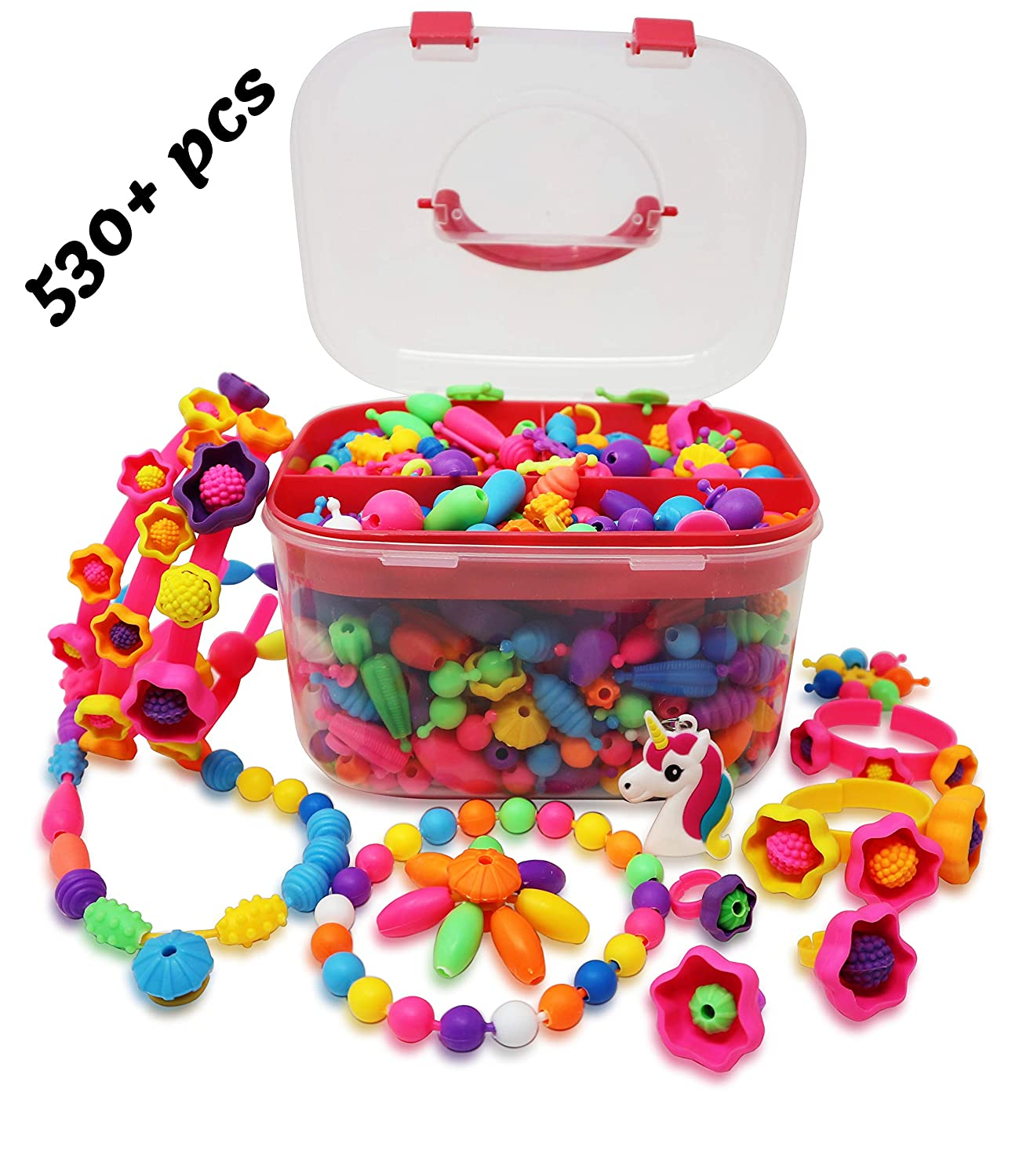 Pop Beads Art and Crafts Kids DIY Snap Together Jewelry Making Toy Kit Set Creative Bracelets Rings Necklace Headbands Birthday and Christmas Gift Age 4 5 6 7 and 8 Year Old Girls 530 pieces