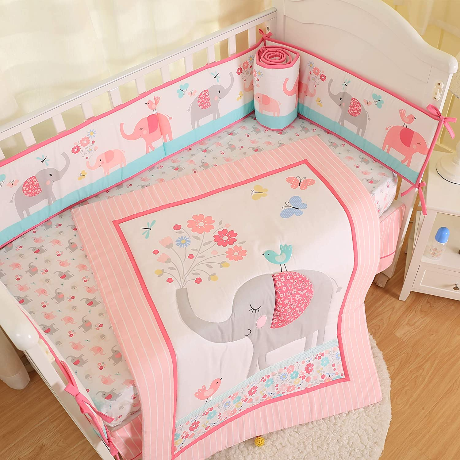 Brandream Pink Elephant Crib Bedding Sets for Baby Girls   3 Piece Nursery Set   Crib Comforter, Fitted Crib Sheet, Crib Skirt Included with Garden Birds Floral Design