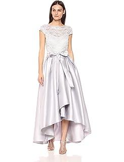 Ignite Womens Cap Sleeve Lace Hi Lo Mikado Gown