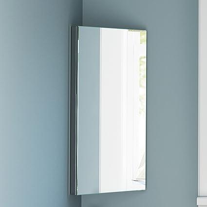 :Stainless Steel Corner Bathroom Mirror Cabinet Modern Storage Unit MC101