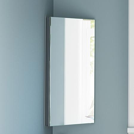 stainless steel corner bathroom mirror cabinet modern storage unit rh amazon co uk