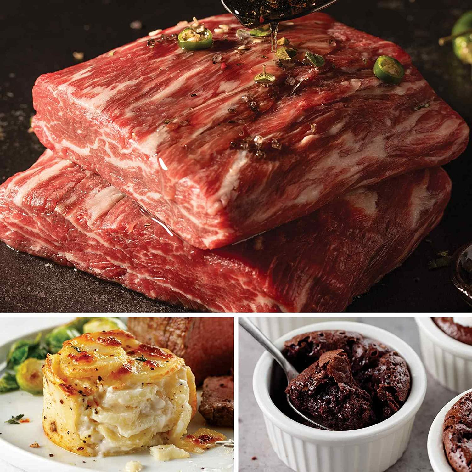 Royal Ribeye Crown Dinner from Omaha Steaks (Private Reserve Ribeye Crown Steaks, Individual Scalloped Potatoes, and Individual Chocolate Souffles)
