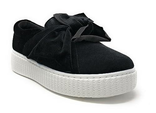 uk availability 592c1 86622 Pink Label Women's Velvet Slip-On Fashion Sneaker with Chic Bow