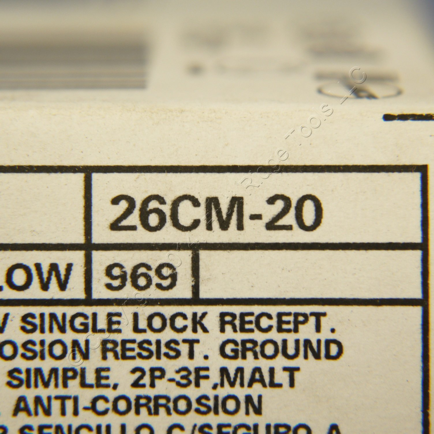 Leviton 26CM-20 30 Amp, 250 Volt, Flush Mounting Locking Receptacle, Industrial Grade, Grounding, Corrosion Resistant, Yellow