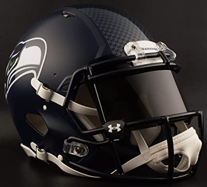 3b034a029 Image Unavailable. Image not available for. Color  Riddell Seattle Seahawks NFL  Authentic Gameday Football Helmet with Dark-Tint Black Eye Shield