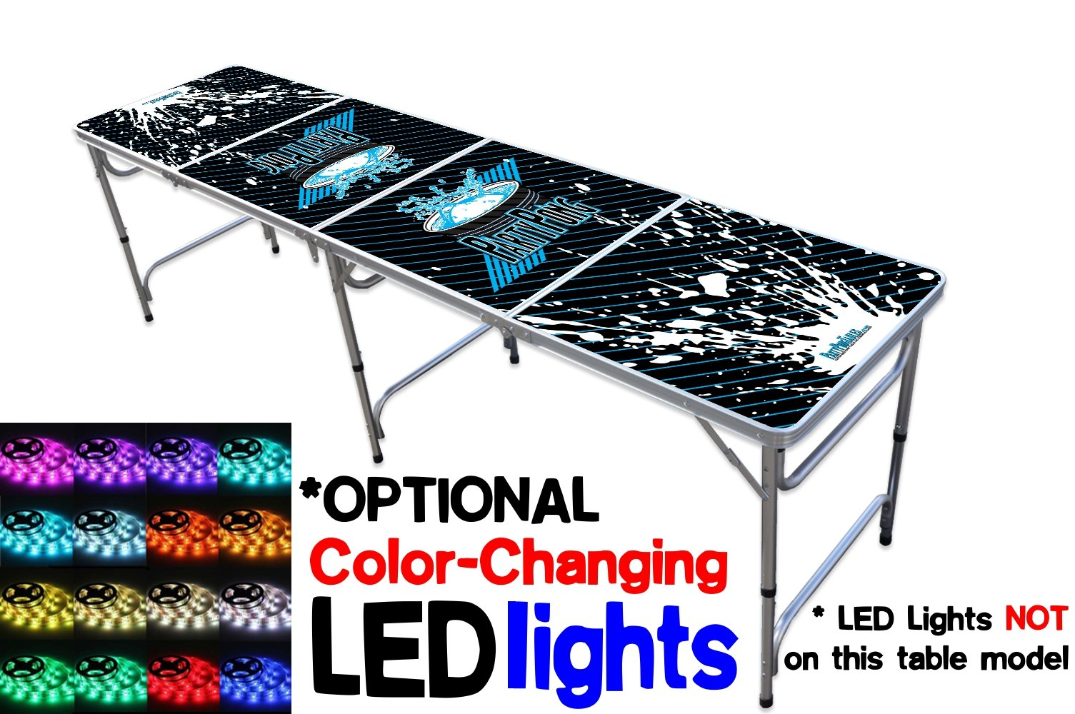 Portable Folding Table w/ PARTY PONG Graphic - Adjustable Length (8 ft or 4 ft) Adjustable Height (Kid Size & Standard Size) Party Table