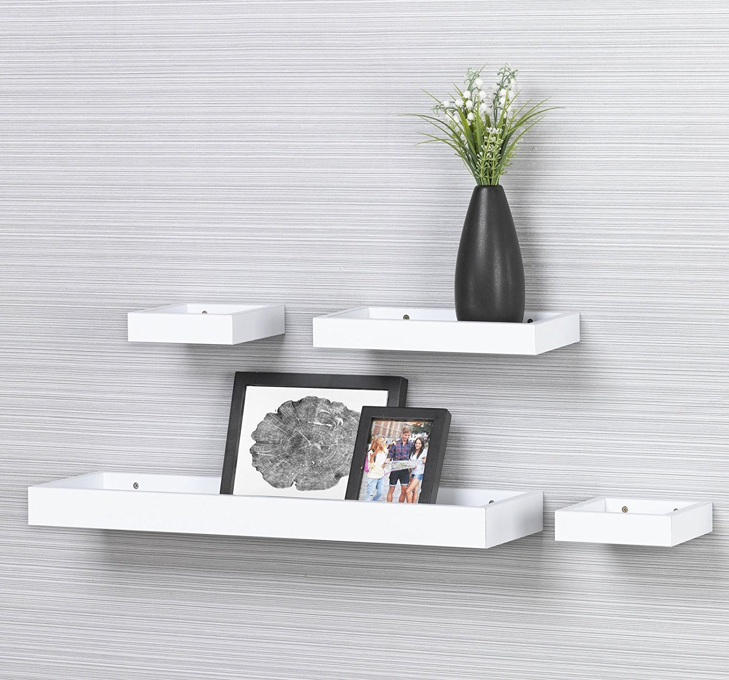 Amazon.com: O&K Furniture Set of 4 Floating Ledge Shelves for Pictures and  Frames, White: Home & Kitchen
