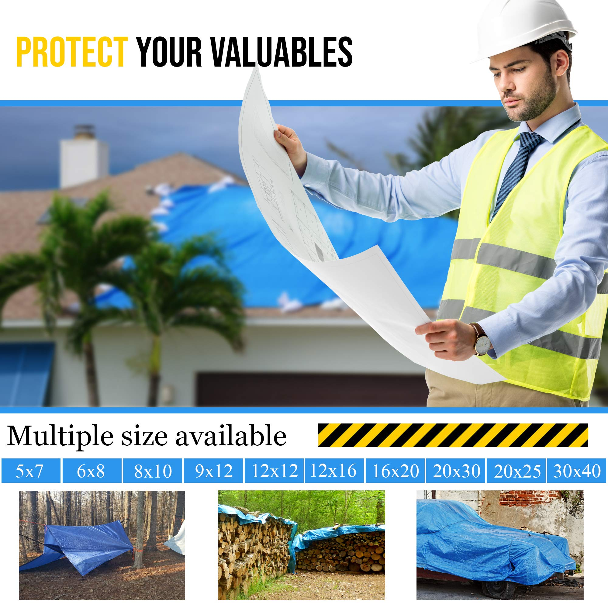 20'x25' Blue Multi-purpose 6ml Waterproof Poly Tarp Cover with Tent Shelter Camping Tarpaulin By Prime Tarps by TARPATOP (Image #5)