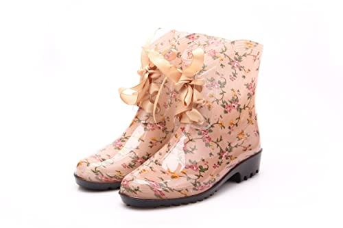 Retro Boots, Granny Boots, 70s Boots Anna&Zero® New Women Girls Fashion Bow Knot Casual Waterpoof Lace up Rain Boots  AT vintagedancer.com