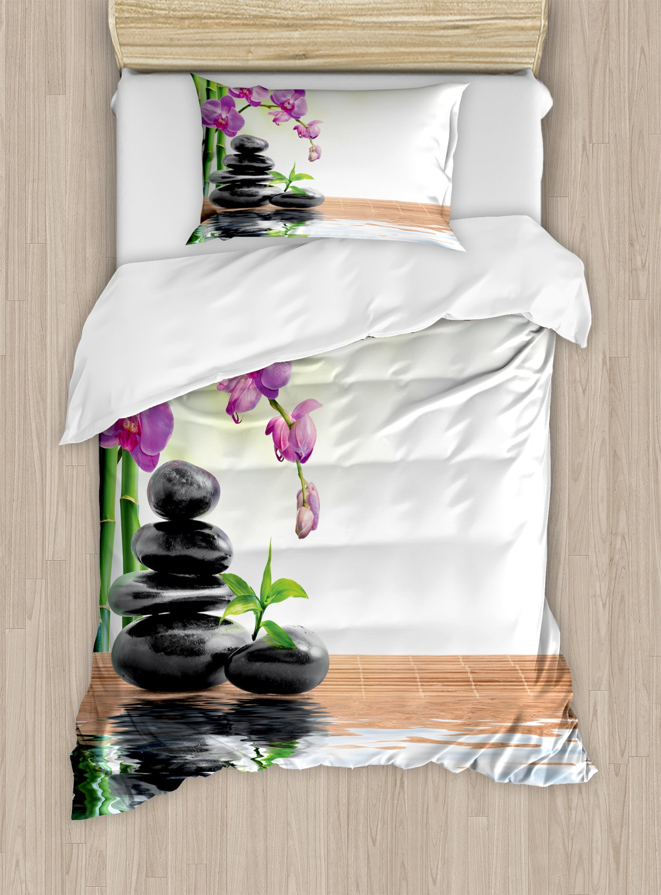 Ambesonne Spa Duvet Cover Set Twin Size, Spa with Spring Water Health Giving Properties Asian Eastern Way of Getting Better Art, Decorative 2 Piece Bedding Set with 1 Pillow Sham, Multicolor