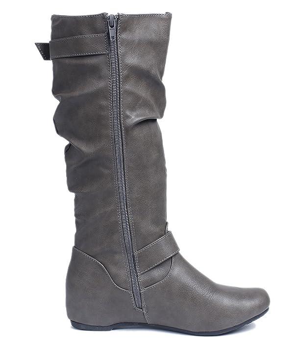 Damen Langschaft Stiefel Reißverschluss Runde Flache Stiefel,EuX46 Schwarz 39 AgeeMi Shoes