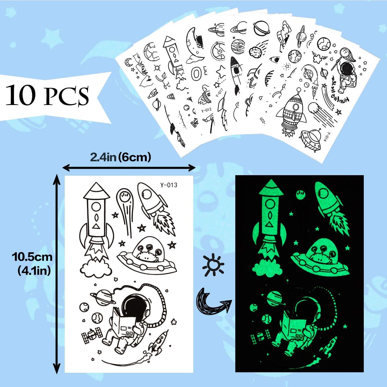 Ovni de lespace Extra-Atmosph/érique Phogary 10 Feuilles Tatouages Temporaires pour Les Enfants Lumineux Autocollant de Tatouage Lueur dans lObscurit/é Faux Tatouages Imperm/éables pour Gar/çons