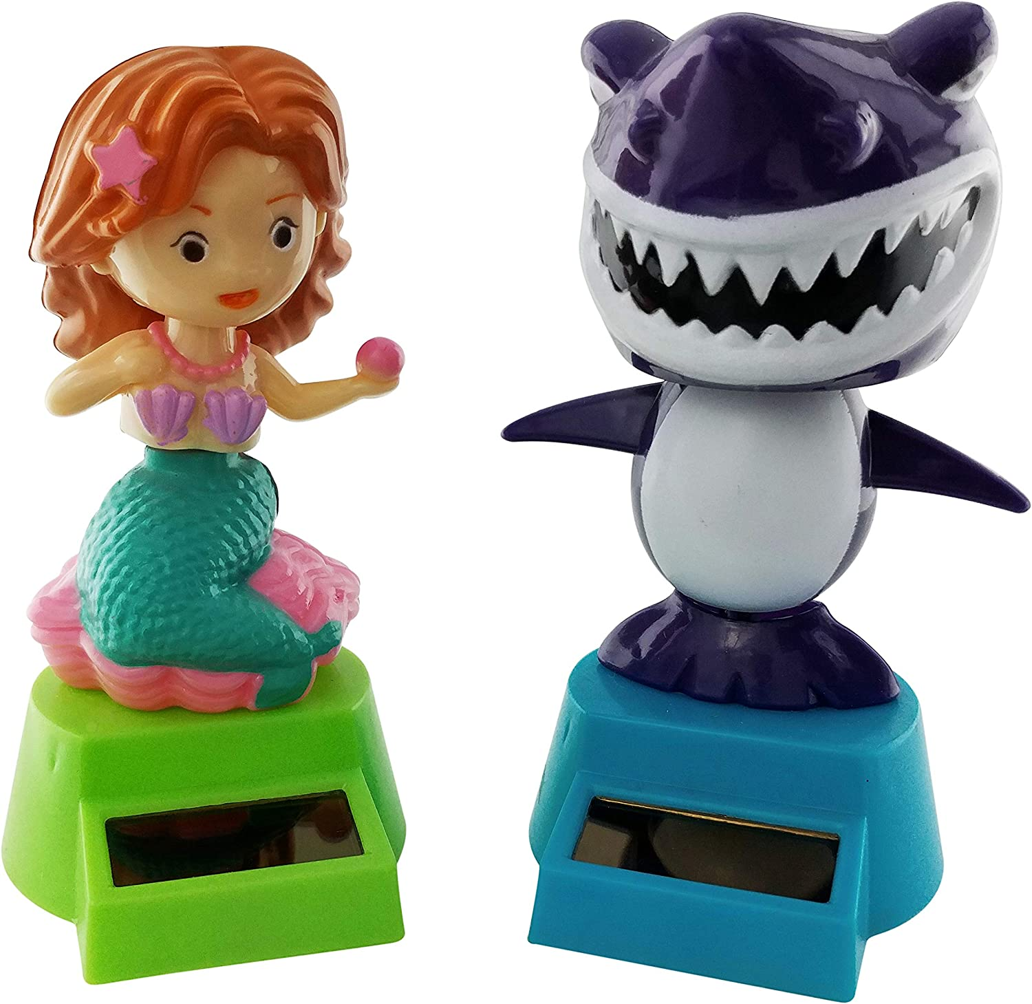 Outdoors By Design Solar Dancing Mermaid and Shark Toys are Solar Powered Figures | Also Called Dashboard Dancing Toy Decorations or Solar Powered Bobble Head Toys