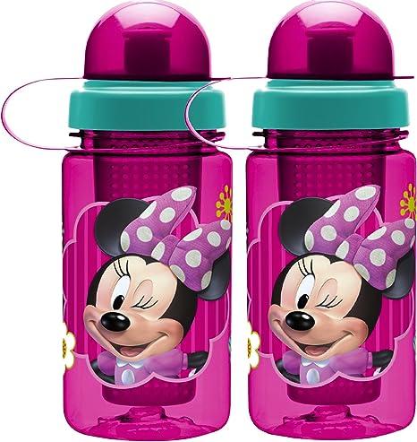 Zak diseño de Minnie Mouse de Disney saludable por botella de agua con infusor de frutas cambiar color bebidas para agua Natural con sabor Pack de 2, Minnie 15 Oz: Amazon.es: Deportes